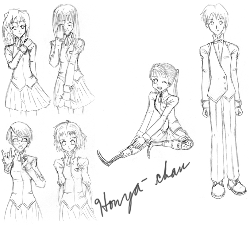 Katawa Shoujo Girls by Honya